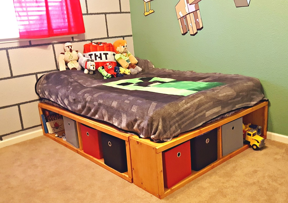 diy full size bed frame with storage leap of faith crafting. Black Bedroom Furniture Sets. Home Design Ideas