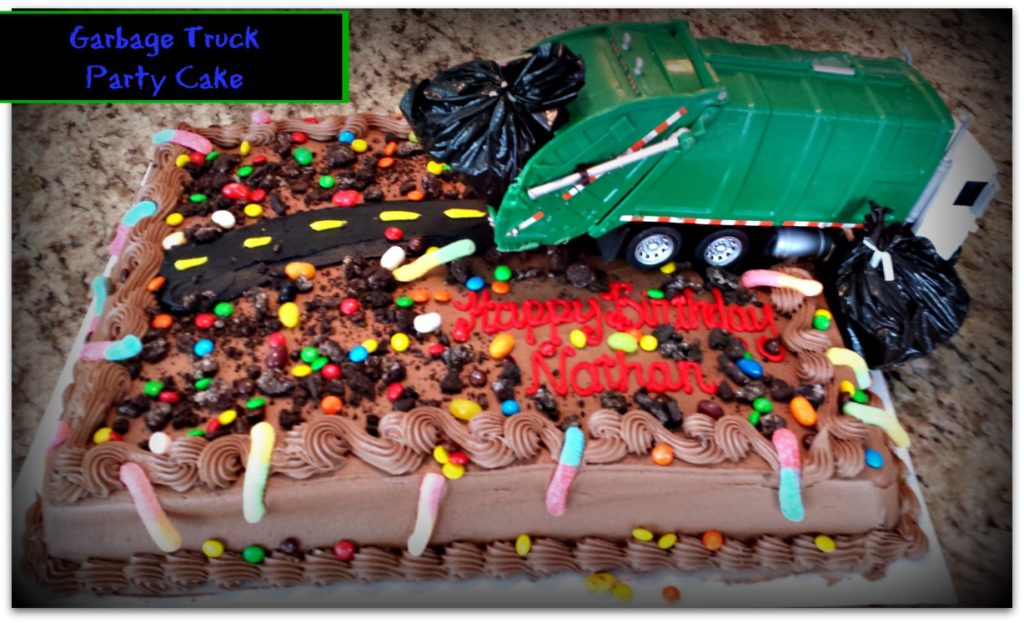 garbage truck birthday party cake