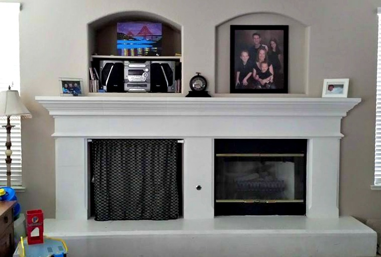DIY fireplace mantel makeover