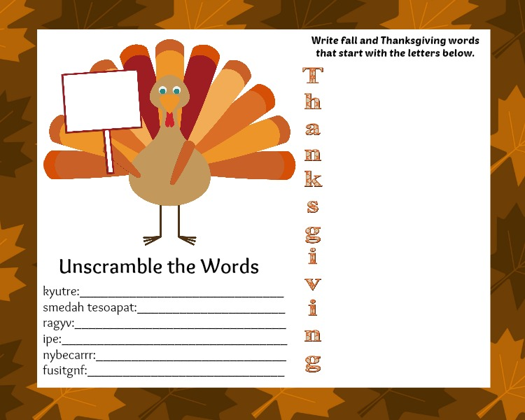 thanksgiving kids placemat