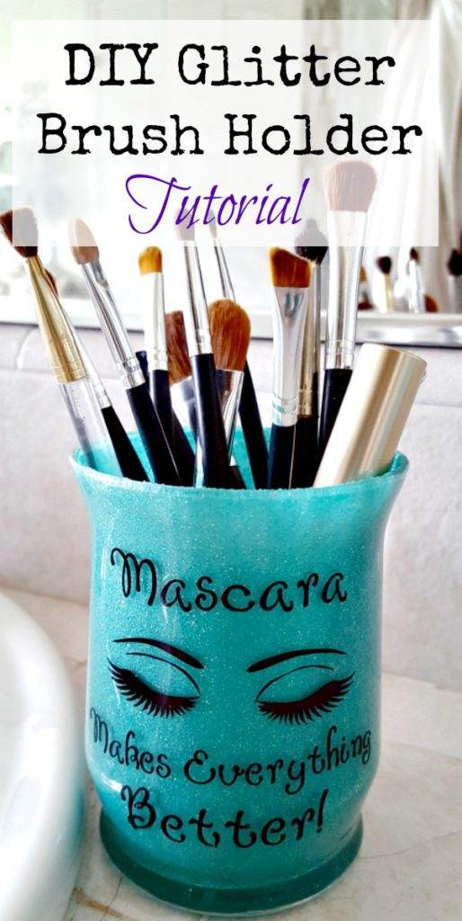 diy glitter brush holder tutorial