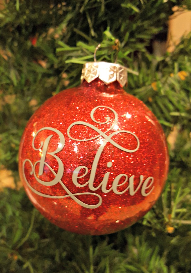 DIY Glitter Ornaments with Believe vinyl decal