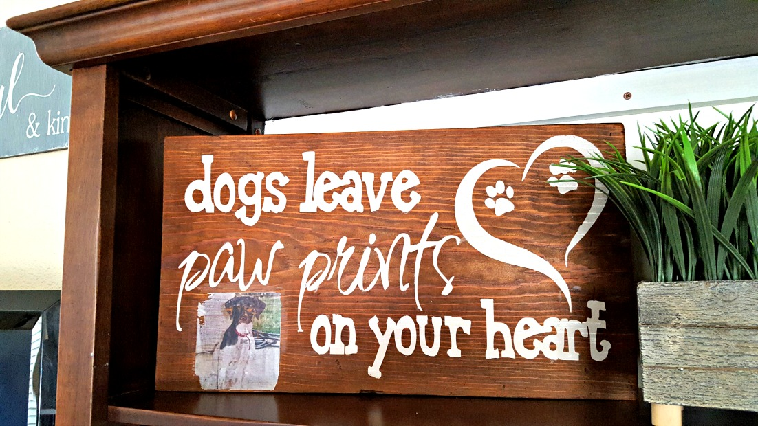 wood dog sign