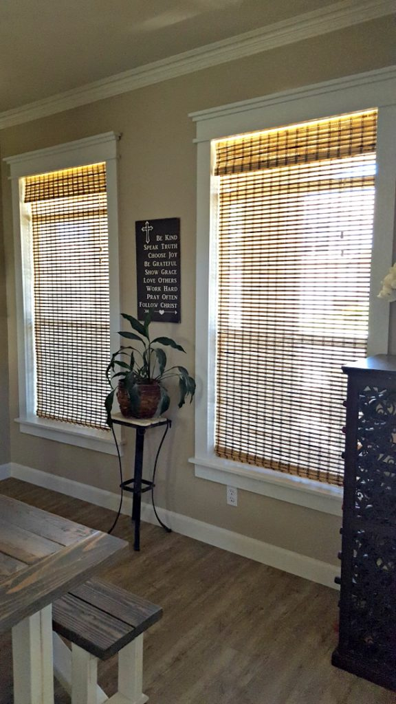 DIY farmhouse window trim molding tutorial Benjamin Moore White Dove
