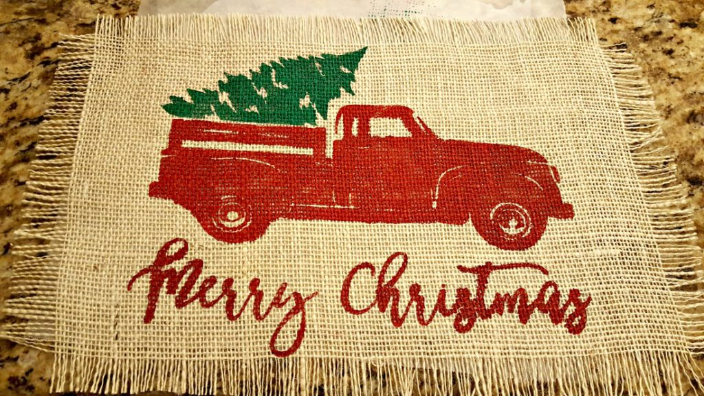 painting on burlap with freezer paper tutorial christmas truck