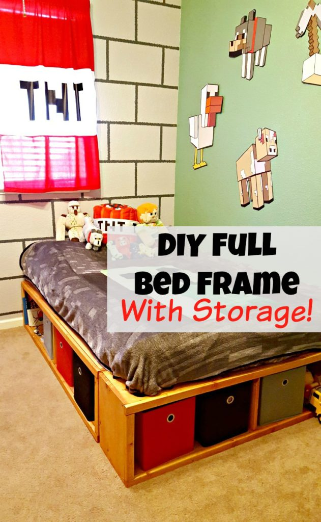 Diy Full Size Bed Frame With Storage Leap Of Faith Crafting