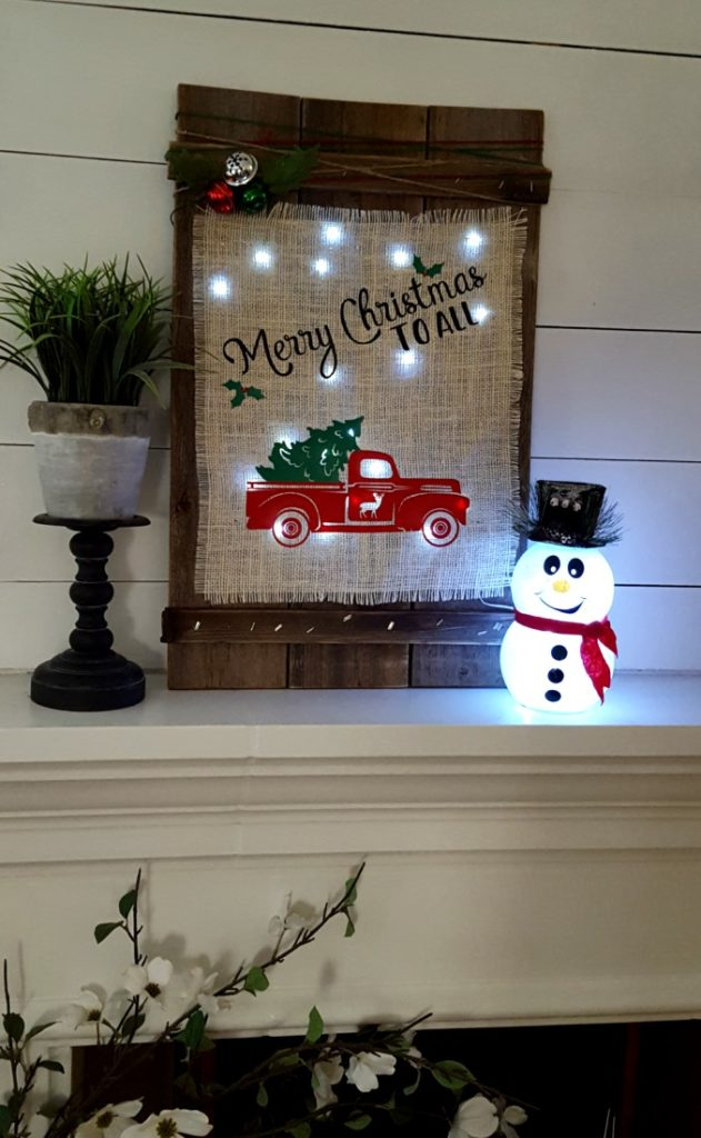 DIY Christmas wood burlap sign
