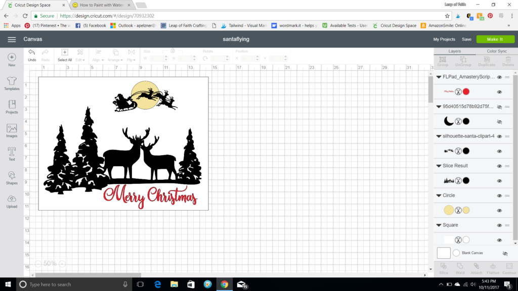 Cricut Design Space screenshot of Christmas sign