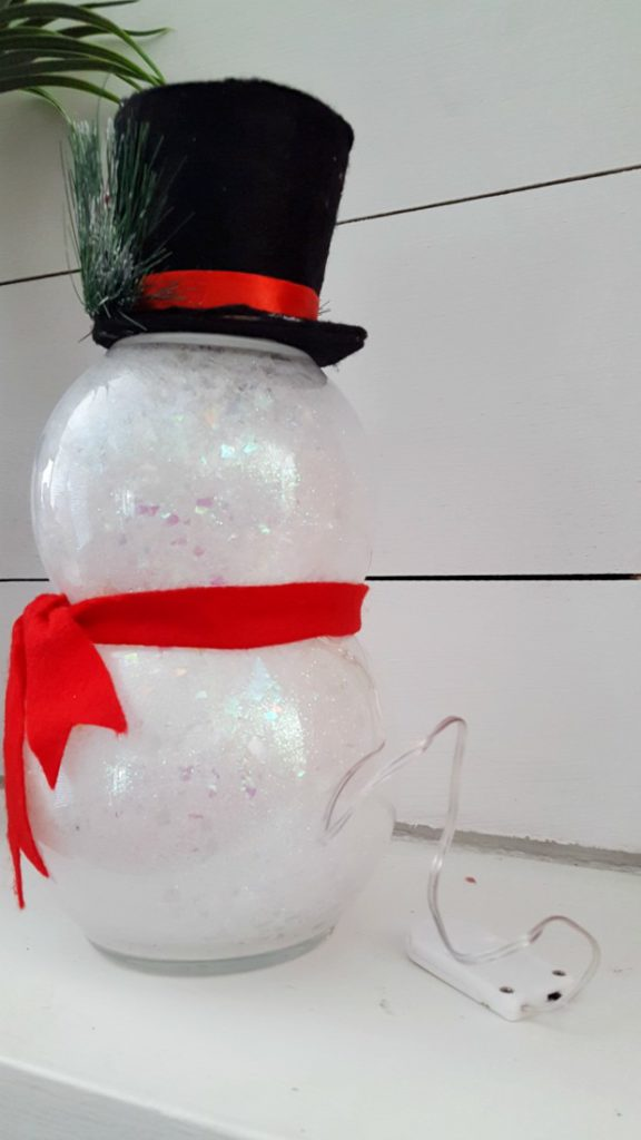 handmade snowman with light battery pack