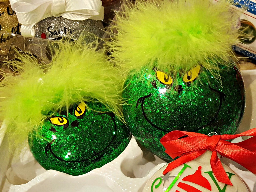 grinch glitter ornaments with fluffy hair