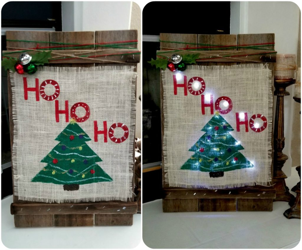 DIY Christmas wooden burlap sign