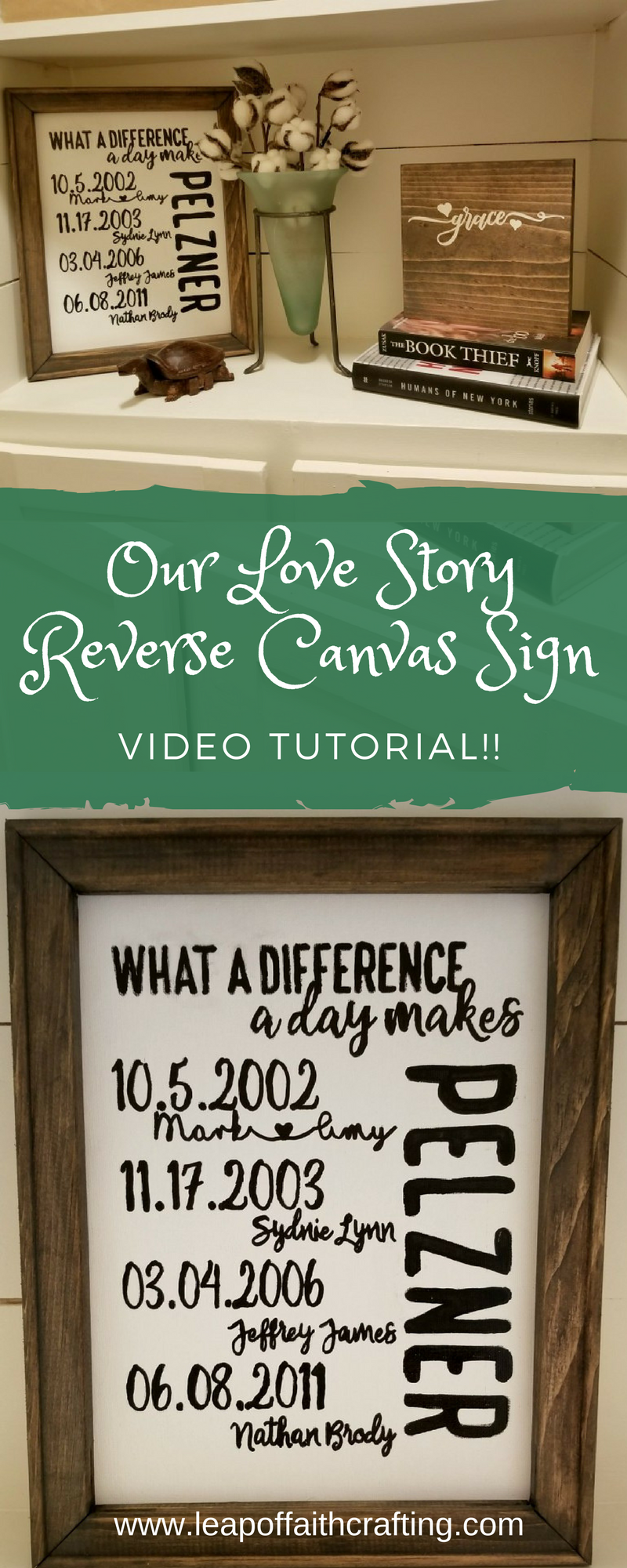 our love story sign diy reverse canvas