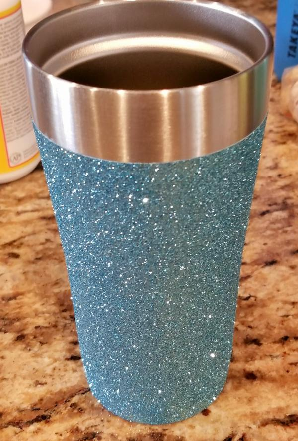 blue glitter tumbler