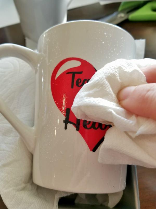 water slide paper on mug