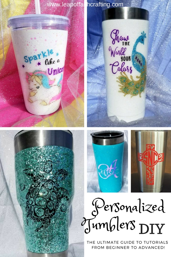 A variety of ways on how to personalize Yetis or stainless steel tumblers. Learn how to apply vinyl to tumblers, how to make DIY glitter tumblers and everything in between! #tumblers #gifts #cricut #yeti #perwsonalized