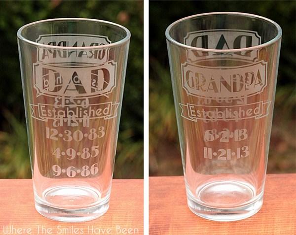 dad grandpa established etched glass complete
