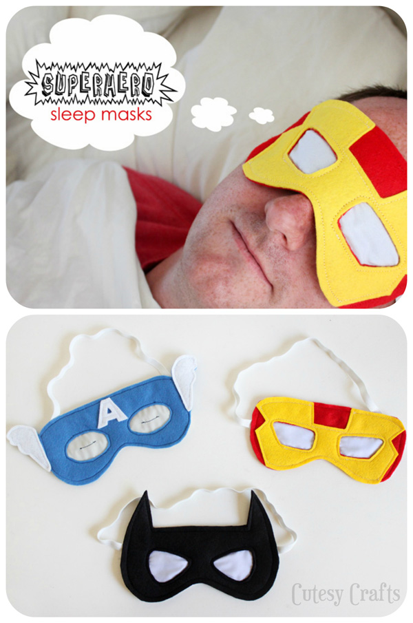 superhero sleep masks collage