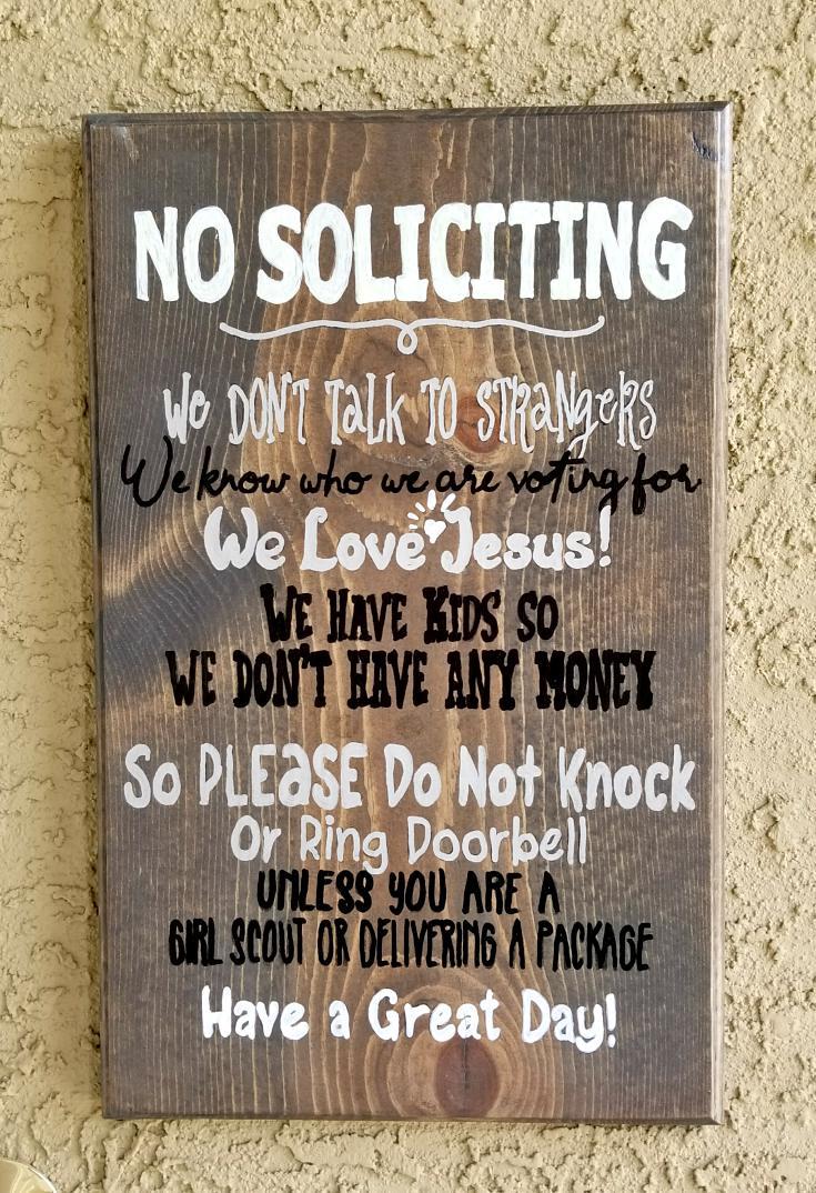 no soliciting sign diy