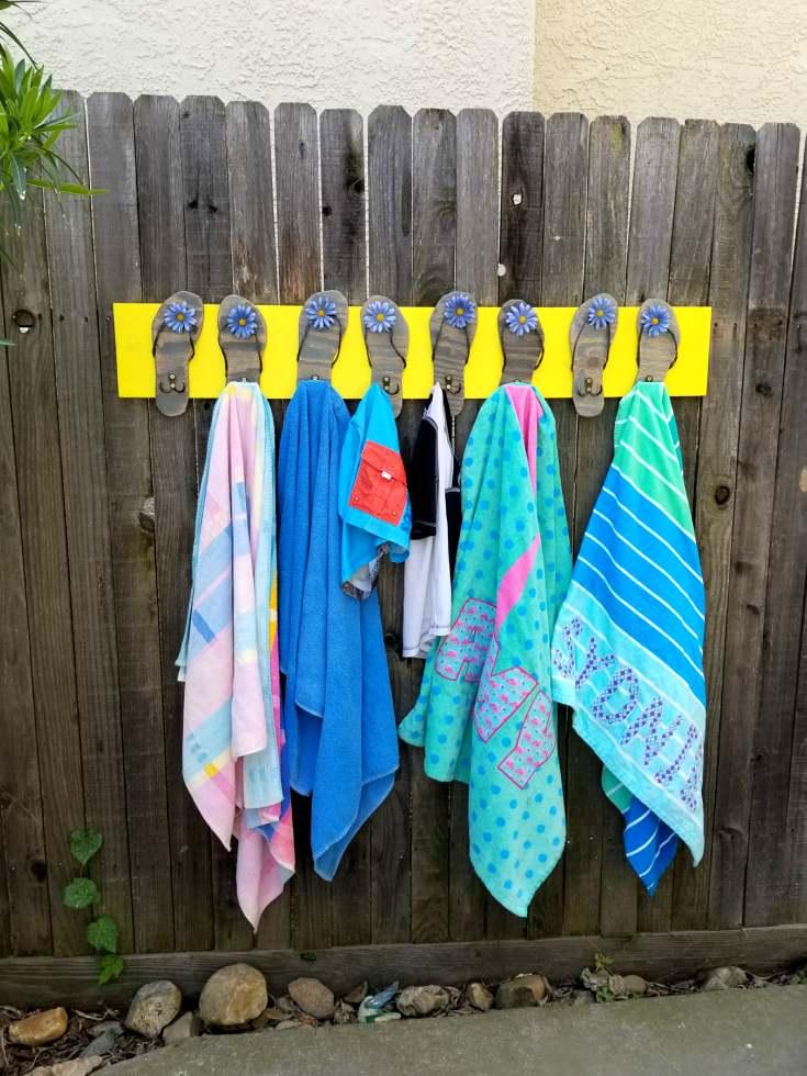 3aa0cfab0 Pool Towel Rack with Flip Flops DIY Tutorial! - Leap of Faith Crafting
