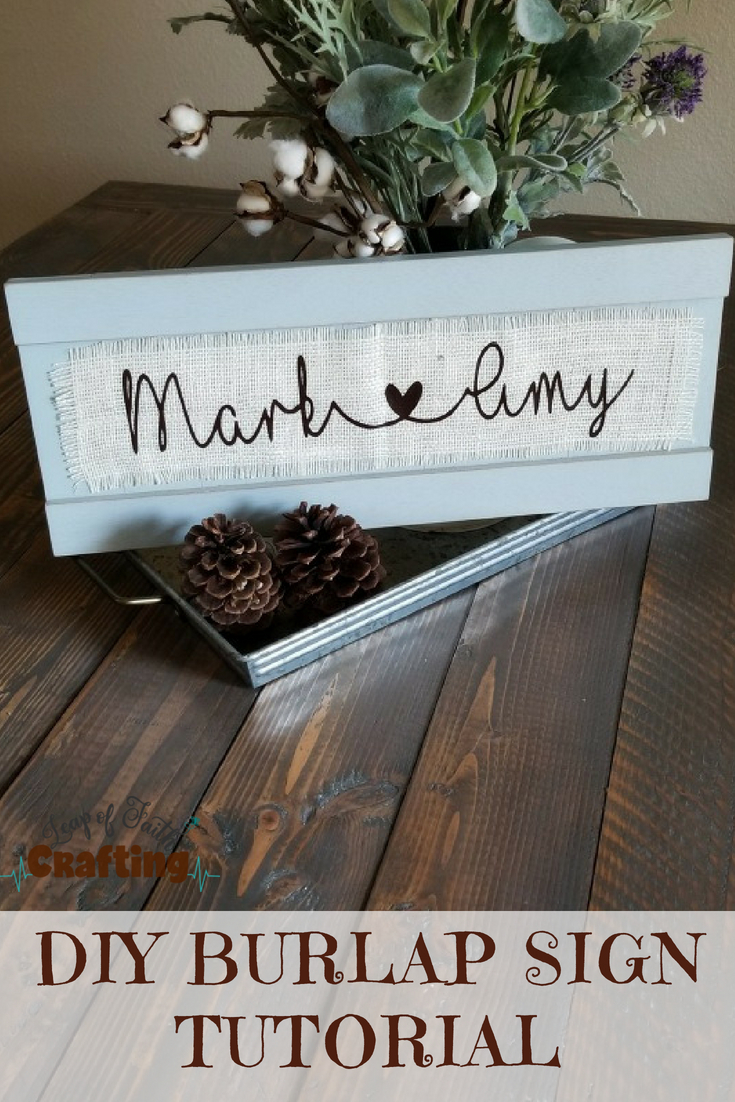 vinyl on burlap sign
