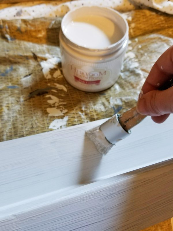 painting rustic shelves DIY with chalk paint