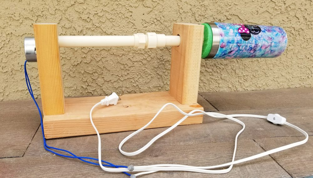 diy tumbler turner with motor and PVC pipe