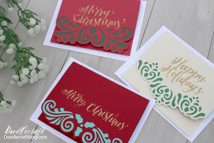 christmas layered filigree cards cricut explore air diy