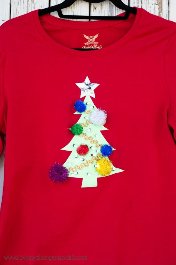 diy ugly sweater t shirt using cricut i love my disorganized life content