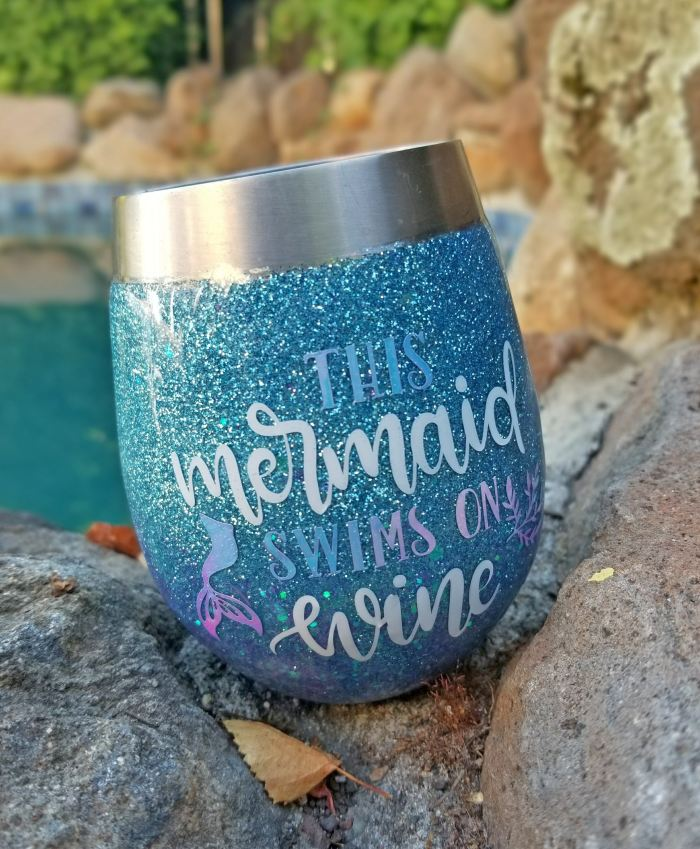 this mermaid swims on wine glitter wine cup
