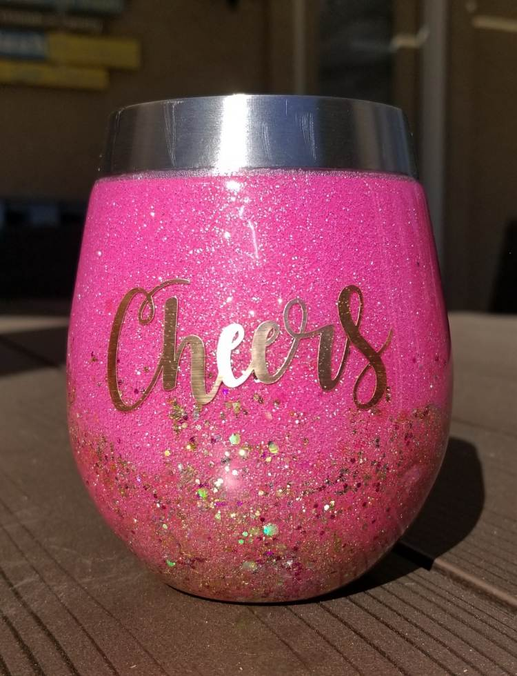pink glittered stemless wine cup with Cheers text