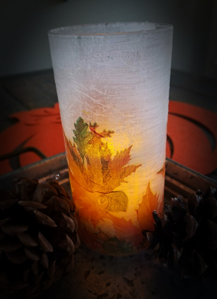 Fall napkin decoupaged glass vase
