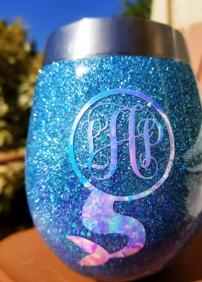 diy monogrammed and glitter stainless steel wine cup