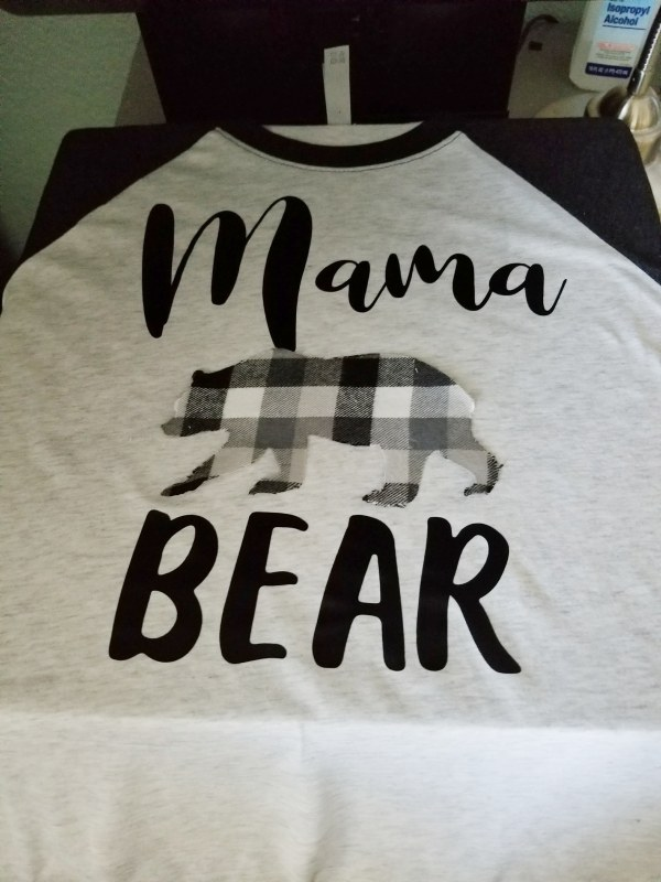 making mama bear shirt with heat press