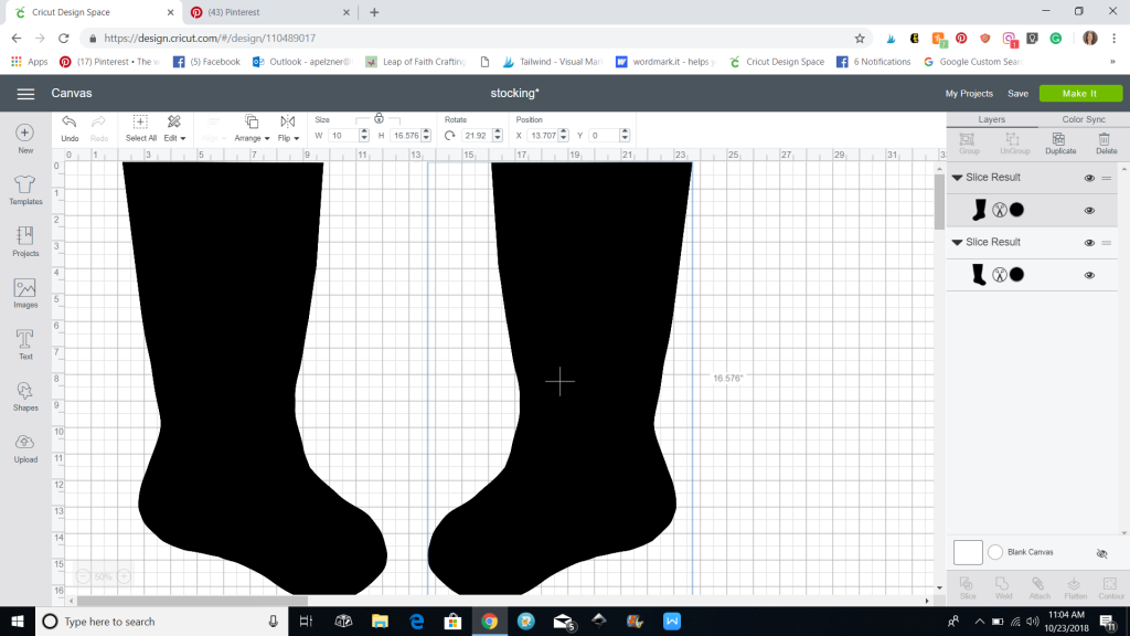 screenshot of stockings png in cricut design space