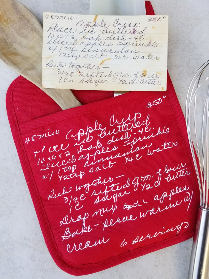 transferring old recipe to oven mitt