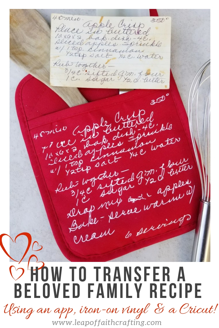 beloved family recipe on oven mitt for sentimental gifts