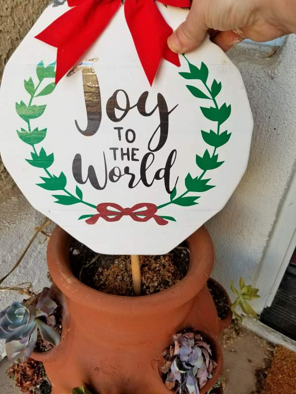 Joy to the World outdoor wood christmas ornaments