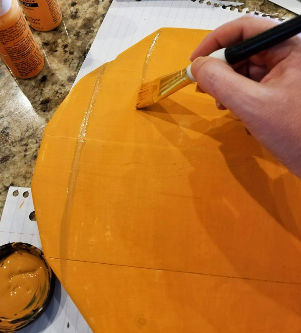 painting lines of pumpkin