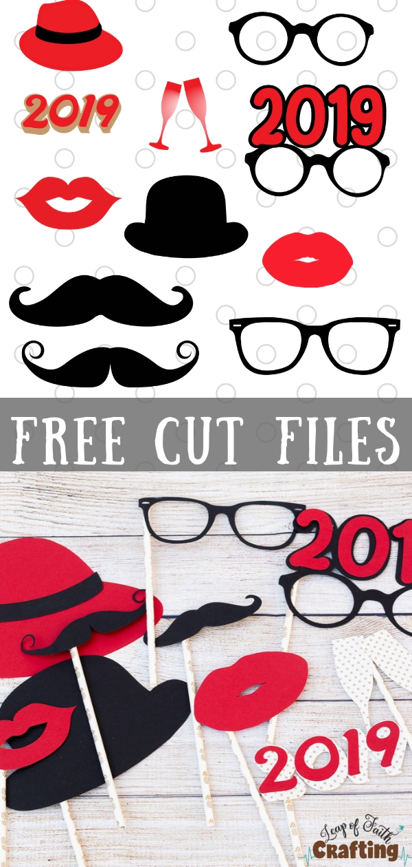 DIY photo prop ideas and free SVG cut file!  Grab a free Cricut cut file for a fun New Years Eve party. #photoprops #newyearseve #newyearsparty #cricut #svgfile #2019