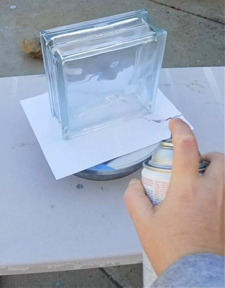 frosting a glass block