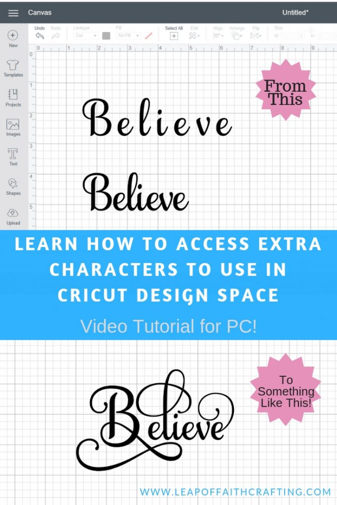 Cricut Design Space tutorial on how to use extra font characters to make unique words. Watch the CDS video tutorial on how to use a character map. #cricutdesignspace #cricut #cricutdesignspacetutorial #charactermap #fonts #samanthafont