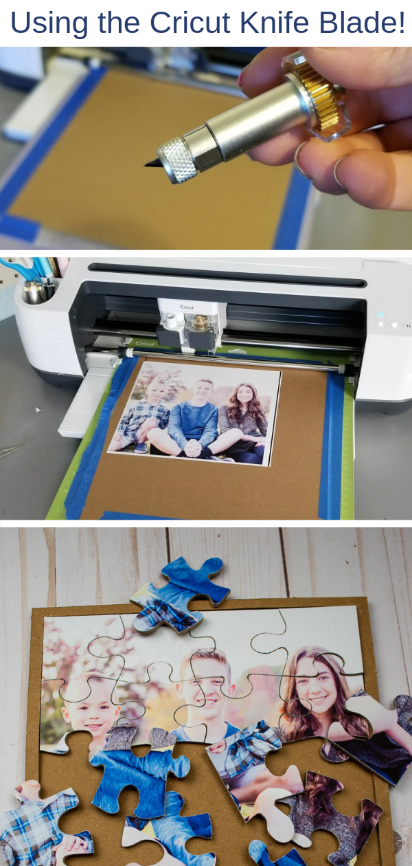 Knife blade Cricut projects! Learn how to make a puzzle with a photo using chipboard, a Cricut Maker and the knife blade. A fun and easy DIY gift using your own photo. #diygifts #cricutmaker