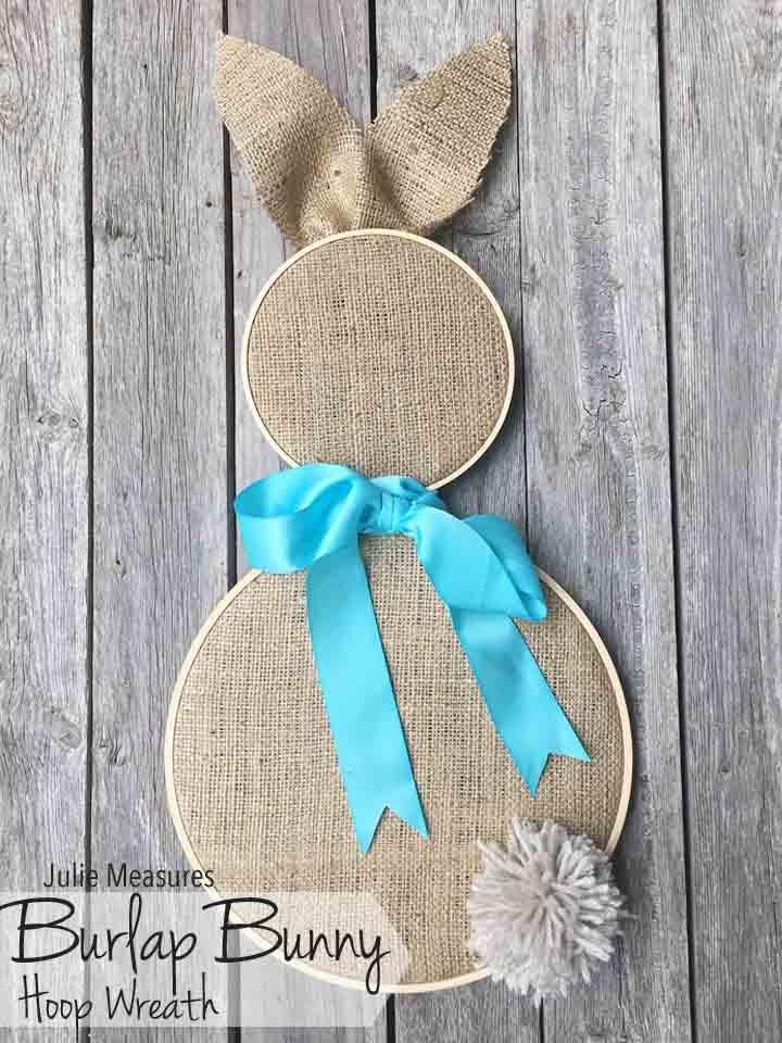 burlap bunny hoop wreath