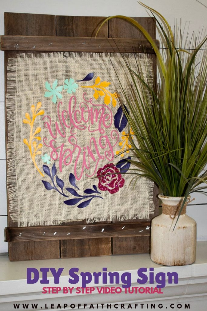 DIY Spring decor using the Cricut EasyPress 2, burlap, and iron-on vinyl. Learn all about the Cricut EasyPress 2 and how it works! #ad #cricut #diydecor #springdecor