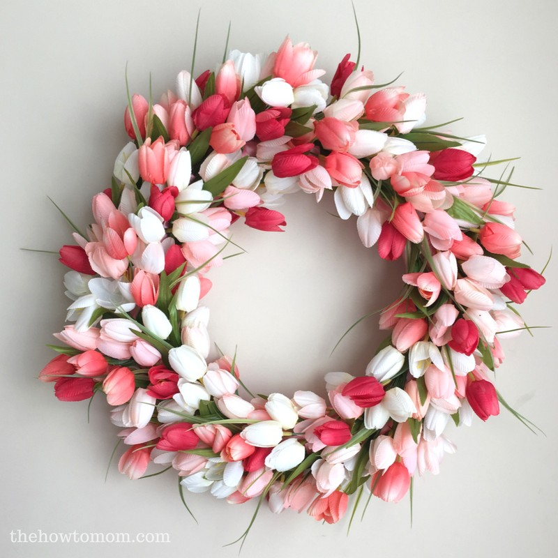 diy tulip wreath easy tutorial coral peach tulips