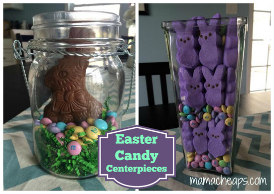 easter candy centerpiece collage