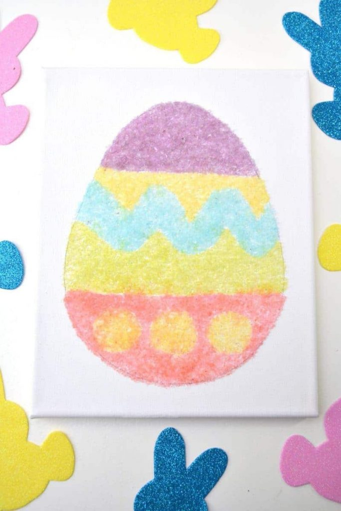 easter egg canvas made with glitter salt