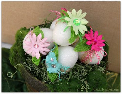 glitter dollar store easter eggs with burlap x
