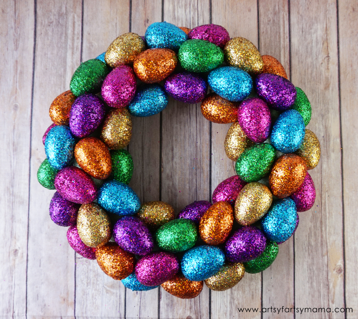 glitter egg wreath done