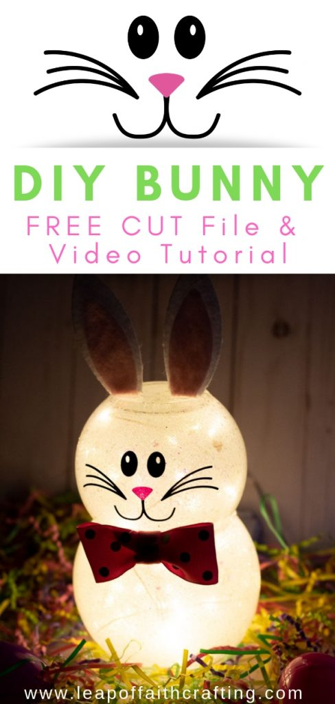 DIY Easter decorations out of dollar store supplies. Make this cute DIY Easter bunny craft with kids. They'll love to use it as a night light or it makes a perfect cute Easter decoration for any room. #bunny #easter